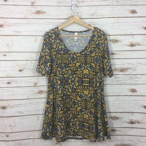 [LulaRoe] Blue & Yellow Perfect T Size Large